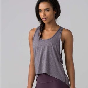 Lululemon Intended Tank Top Heathered Black Currant Size 12